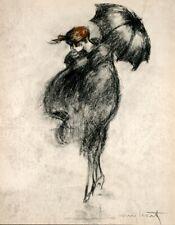 Louis Icart Woman with umbrella raining rain storm 5 x 7 Art Reprint