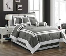 Clearance Sale Chezmoi Collection 7-Piece Gray White Hotel Style Comforter Set