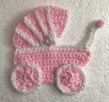 Pram Stroller Crocheted Appliqué Embellishment Blankets, Card Making crafts