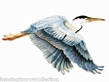 WALL ART - FLYING BLUE HERON METAL WALL SCULPTURE - LARGE - NAUTICAL WALL DECOR