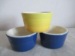 LE CREUSET ~ 3 x RAMEKINS, (2 x blue & 1 x yellow)