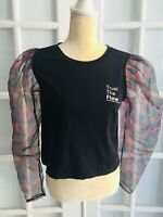 NWT ZARA Woman Black TOP WITH ORGANZA TRIMS Front Text Long Sleeve Size M O1366M