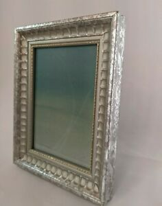 Silver Leaf Carved Wood Picture Frame for 4.5 x 6.5 in Print Glass Easel w Wall