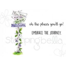 Stamping Bella Tiny Townie FAIRY GARDEN SIGN Cling Mount Rubber Stamp