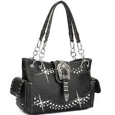 New Dasein Women Ostrich Leather Shoulder Bag Hobo Tote Bag Handbag w Rhinestone