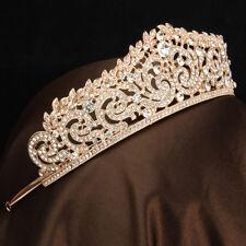 Rose Gold Wedding Bridal Crystal Crown Tiara Rhinestone Hairband For Pageant