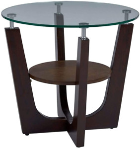 Progressive Furniture Four-Points End Table with Glass Top, Espresso