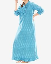 Plus Size Deep Sea Blue Geo Floral Cotton Flannel Print Nightgown Size 3X-30/32