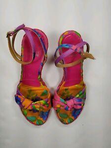 Stuart Weitzman Espadrille Wedges Size 8 M Bow Floral Ankle Strap Spring