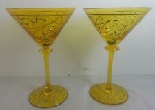 2 Amber Yellow Martini Glasses with Gold  Party Swirls
