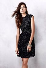 NEW Free People Needle & Thread black Chiffon Bead High Neck Fit Flare Dress 2