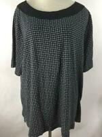 Croft & Barrow knit top size 3X black white crocheted collar short sleeve cotton