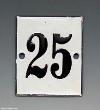 KLEINE...! ALTE EMAIL EMAILLE NUMMER 25 aus HOTEL ? um 1950...6 x 5 cm !!