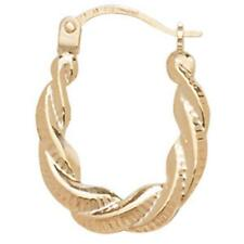9ct Hallmarked Gold Pair Of Creole Loop Earrings - Hinged Fitting ER618 New