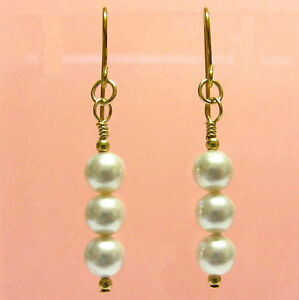 9ct Gold Earrings made with stunning White Crystal Pearls
