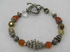 Vintage Sterling Silver Artisan Multi-Gemstone Toggle Bracelet