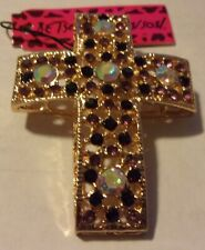 BETSEY JOHNSON STUNNING BLACK RHINESTONES EASTER CROSS BROOCH PIN NIP