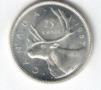 CANADA 1957 25 CENTS QUARTER QUEEN ELIZABETH II CANADIAN .800 SILVER COIN