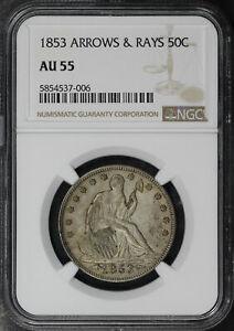 1853 Seated Liberty Half Dollar with Arrows & Rays NGC AU-55 Super Original!
