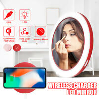 Mini Wireless Charger Charging LED Makeup Mirror USB For Apple iPhone X/8