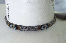 Native American design, beaded, horsehair hat band, Stunning Gray-blue beads