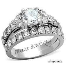 2.50 CT ROUND CUT CZ SILVER STAINLESS STEEL WEDDING RING SET WOMEN'S SIZE 5-10