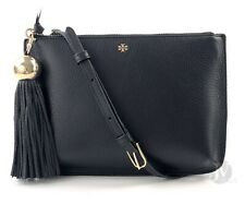 Tory Burch  50671 0718 Tassel Leather Clutch Crossbody Bag Black