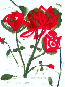 Flowers Original Painting Modern Abstract Expressionist Art Roses Neal Turner