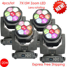 4pcs/lot 7X15W moving beam zoom rotate lens light led for disco dj party lights