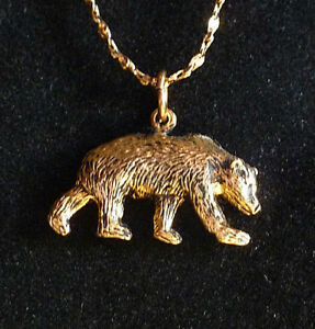 * BEAR * 24 kt Gold Pendants + + + FREE 18 kt Gold Chain * Made in The USA *