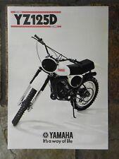 Yamaha YZ125D  Sales Brochure,  1977 Original NOS