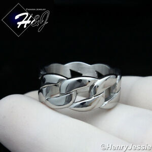 MEN WOMEN Stainless Steel 10mm Silver Cuban Curb Link Ring Size 6-12*R131