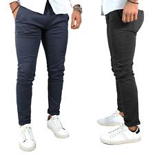 Pantaloni uomo chino autunno inverno super slim fit tasche america Blu Nero