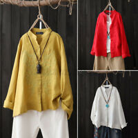 Women Casual Oversized Loose Shirt Tee Ladies Embroidery Round Neck Blouse Tops