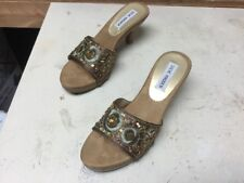 Womens Steve Madden Slip On Heels Silk And Beaded Size 6.5