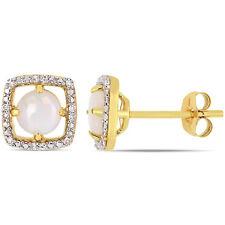 Amour 10KY Opal and Diamond Stud Earrings