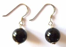 Sterling Silver 10mm BLACK GLASS PEARL Beaded Bead Drop Hook Earrings + Box +Bag