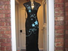 CHINESE ORIENTAL BLACK Turquoise STYLIST LONG PROM PARTY DRESS 10