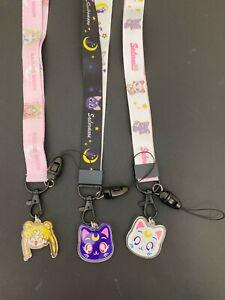 Anime  Sailor Moon USAGI Kawaii ARtemis Luna  ID case purse strap  PHONE LANYARD