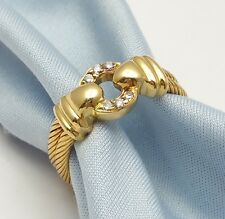 Elegant Philippe Charriol 18K Karat Yellow Gold Double Cable Ring with Diamonds