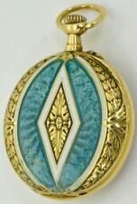 Amazing antique engraved 18k gold&enamel LeCoultre caliber ladies pendant watch