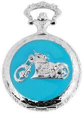 Pocket Watch White Silver Blue Motorcycle Bike Analogue Quartz W-180822000026350