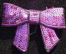 fabric sequin H PINK BOW iron-on HOTFIX patch TRANSFER
