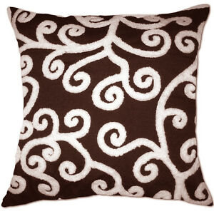 filament vine swirls embroidered white and brown cushion covers