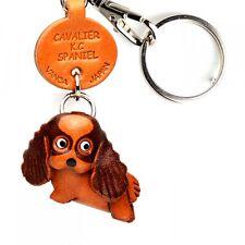 Cavalier K.C.Spaniel Handmade 3D Leather Dog Keychain VANCA Made in Japan #56715