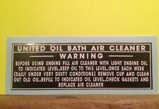United Oil Bath B&S Briggs engine decal WWII engine; 43