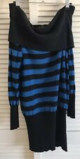 Zara Blue Striped Silk Blend Sweater Jumper Tunic Dress Cowl Bardot Neck Size M