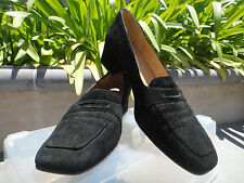 CLASSIC Vintage RALPH LAUREN Heeled Black Suede Covered Heel Loafer, Spain, 7M