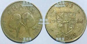 Ghana 5 Cedis 1984 Djembe Drum  brass coin km26