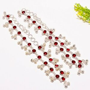 "Garnet Gemstone Handmade Ethnic Fashion Jewelry Anklet 12"" SA3"